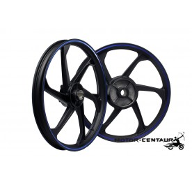 KAWA-GTO SPORT RIMS SET 666LN 1.40X17(F) 1.60X17(R) FOR YAMAHA Y135LC BLACK (BLUE-LINING)