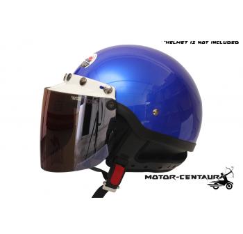 BIKKO VISOR BK-05 IRIDIUM BLUE, 5 BUTTONS WHITE-CAP