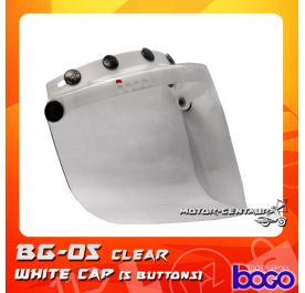 BOGO VISOR BG-05 CLEAR, 5 BUTTONS WHITE-CAP