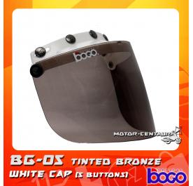 BOGO VISOR BG-05 TINTED, 5 BUTTONS WHITE-CAP