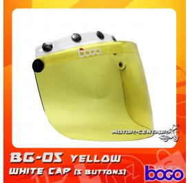 BOGO VISOR BG-05 YELLOW, 5 BUTTONS WHITE-CAP