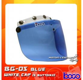 BOGO VISOR BG-05 BLUE, 5 BUTTONS WHITE-CAP