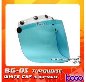 BOGO VISOR BG-05 TURQUOISE, 5 BUTTONS WHITE-CAP