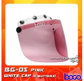 BOGO VISOR BG-05 PINK, 5 BUTTONS WHITE-CAP