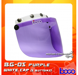 BOGO VISOR BG-05 PURPLE, 5 BUTTONS WHITE-CAP