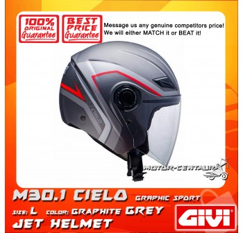 GIVI JET HELMET M30.1 CIELO L GRAPHIC SPORT GRAPHITE GREY