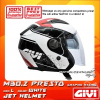 GIVI JET HELMET M30.2 PRESTO L GRAPHIC RACING WHITE