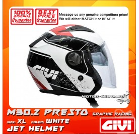 GIVI JET HELMET M30.2 PRESTO XL GRAPHIC RACING WHITE