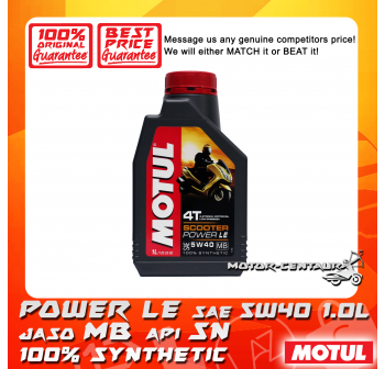 MOTUL 4T ENGINE LUBRICANT SCOOTER POWER LE 5W40 1.0L
