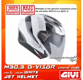 GIVI JET HELMET M30.3 D-VISOR L GRAPHIC SPEED WHITE
