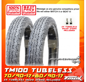 TMAX TUBELESS TYRES TM100 70/90-17 + 80/90-17