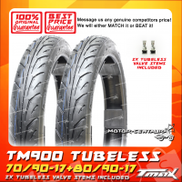 TMAX TUBELESS TYRES TM900 70/90-17 + 80/90-17