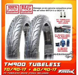 TMAX TUBELESS TYRES TM900 70/90-17 + 80/90-17