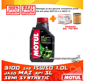 YAMAHA OIL FILTER LC135 + MOTUL 4T ENGINE LUBRICANT 3100 SAE15W50 [1L]
