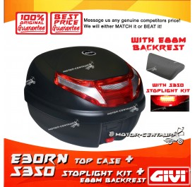 GIVI E30RN TOP CASE + S350 STOP LIGHT KIT + E88M BACKREST