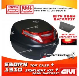 GIVI E30TN TOP CASE + S350 STOP LIGHT KIT + E88M BACKREST
