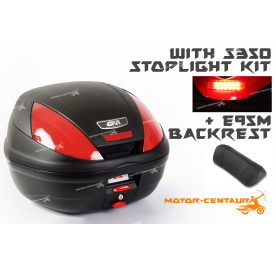 GIVI E370N TOP CASE + S350 STOP LIGHT KIT  + E95M BACKREST