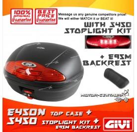 GIVI E450N TOP CASE + S450 STOP LIGHT KIT + E95M BACKREST