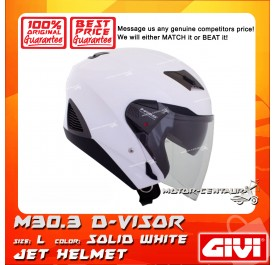 GIVI JET HELMET M30.3 D-VISOR L SOLID WHITE