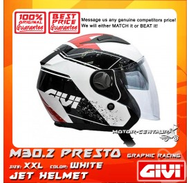 GIVI JET HELMET M30.2 PRESTO XXL GRAPHIC RACING WHITE