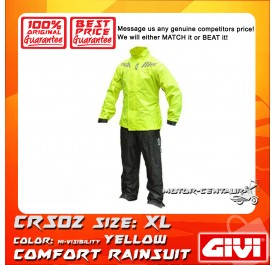 GIVI COMFORT RAINSUIT CRS02 XL HIGH VISIBILITY YELLOW