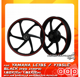 AAP SPORT RIM 1.60X17(F) 1.85X17(R) W/BEARINGS & HUB RUBBERS LC135 BLACK WITH RED STRIPE