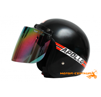 APOLLO HELMET BLACK + BIKKO IRIDIUM RAINBOW VISOR