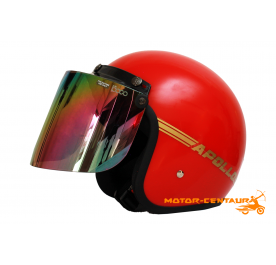 APOLLO HELMET RED + BIKKO IRIDIUM RAINBOW VISOR
