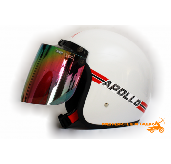 APOLLO HELMET WHITE + BIKKO IRIDIUM RAINBOW VISOR