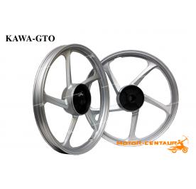 KAWA-GTO SPORT RIMS 5STAR 1.40X17(F) 1.60X17(R) WAVE 100 SILVER