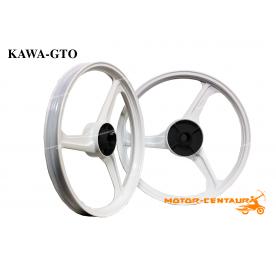 KAWA-GTO SPORT RIMS 333 1.40X17(F) 1.60X17(R) WAVE 100 WHITE
