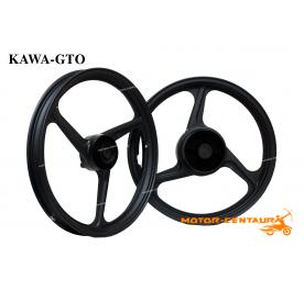 KAWA-GTO SPORT RIMS 333 1.40X17(F) 1.60X17(R) WAVE 125 BLACK