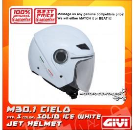 GIVI JET HELMET M30.1 CIELO S SOLID ICE WHITE