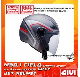 GIVI JET HELMET M30.1 CIELO S GRAPHIC SPORT GRAPHITE GREY