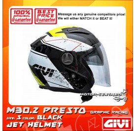 GIVI JET HELMET M30.2 PRESTO S GRAPHIC RACING BLACK