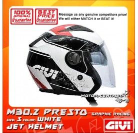 GIVI JET HELMET M30.2 PRESTO S GRAPHIC RACING WHITE