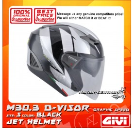 GIVI JET HELMET M30.3 D-VISOR S GRAPHIC SPEED BLACK