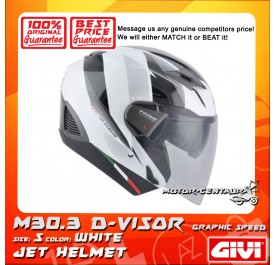 GIVI JET HELMET M30.3 D-VISOR S GRAPHIC SPEED WHITE