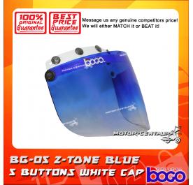BOGO VISOR BG-05 2-TONE BLUE, 5 BUTTONS WHITE-CAP