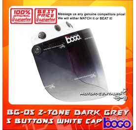 BOGO VISOR BG-05 2-TONE GREY, 5 BUTTONS WHITE-CAP