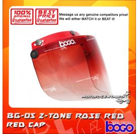 BOGO VISOR BG-05 2-TONE ROSE RED, RED CAP