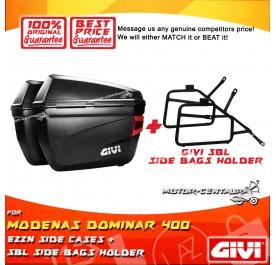 GIVI E22N SIDE CASES + GIVI MODENAS DOMINAR 400 SBL SIDEBAG HOLDER