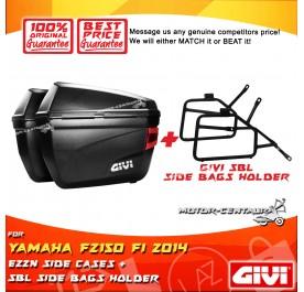 GIVI E22N SIDE CASES + GIVI YAMAHA FZ150 FI 2014 SBL SIDEBAG HOLDER