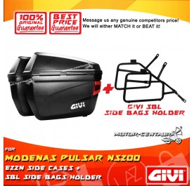 GIVI E22N SIDE CASES + GIVI MODENAS PULSAR NS200 SBL SIDEBAG HOLDER