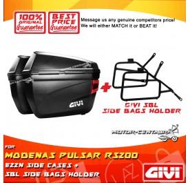 GIVI E22N SIDE CASES + GIVI MODENAS PULSAR RS200 SBL SIDEBAG HOLDER