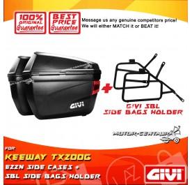GIVI E22N SIDE CASES + GIVI KEEWAY TX200G SBL SIDEBAG HOLDER