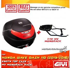 GIVI E30TN TOP CASE + GIVI HONDA WAVE DASH 110 2013 / 2016 MV MONORACK