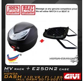 GIVI E250N2 TOP CASE + GIVI HONDA WAVE DASH 110 2013 / 2016 MV MONORACK