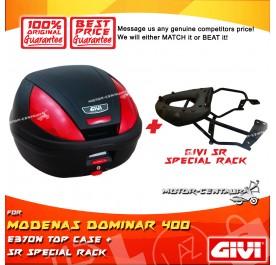 GIVI E370N TOP CASE + GIVI MODENAS DOMINAR 400 SRV SPECIAL RACK