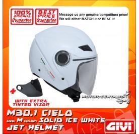 GIVI JET HELMET M30.1 CIELO M SOLID ICE WHITE + TINTED VISOR